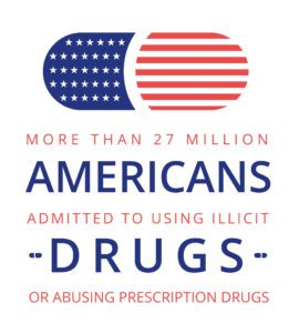 American flag pattern pill with fact about drug abuse