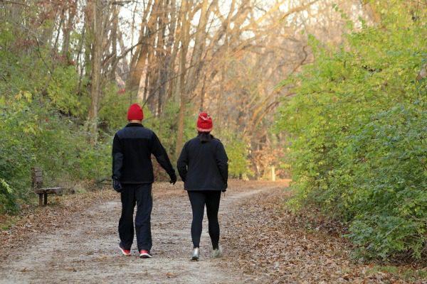 Couple walking in winter