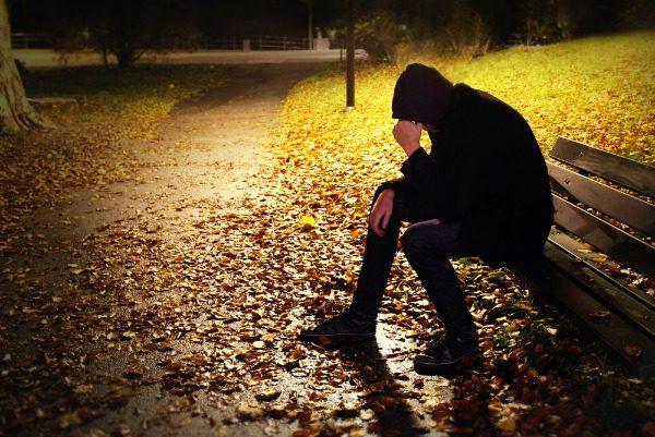 PTSD victim in park at night